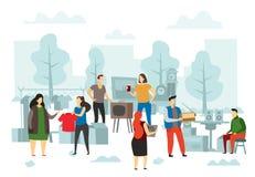 Flohmarkteinkaufen Flohbasar, Leute, die Modekleidung und flache Vektorillustration des Straßenhandels verkaufen lizenzfreie abbildung