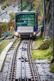 The Floibanen funicular arriving at the station Royalty Free Stock Photos