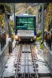 The Floibanen funicular arriving at the station Stock Image