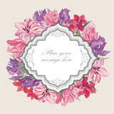 Flolar frame. Floral border. Vintage flourish background. Stock Photos
