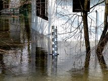 Flood. House sunk during the flood Stock Photo