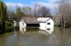Flood. House sunk during the flood royalty free stock photos