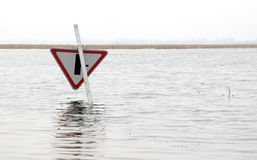 Flood. In Lithuania. Spring 2010 stock image