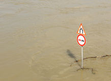 Flood. River bank in heavy flood Royalty Free Stock Image