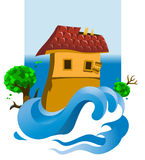Flood. Vector illustration of a flooded house Stock Image