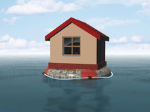 Flood. House on life buoy Royalty Free Stock Images
