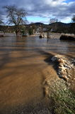 Flood. Photo docomenting a flood in a village stock photography