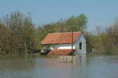 Flood. Area. houses under water Stock Photography