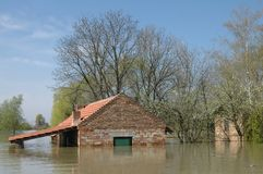 Flood. Area. houses under water stock images
