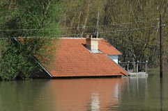 Flood. Area. houses under water Royalty Free Stock Images