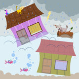 Flood. A cartoon illustration of a flood with houses submerged in water Royalty Free Stock Photo