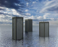 Flood. Computer generated illustration of skyscrapers coming out of the ocean, or a city submerged by a flood royalty free stock photo