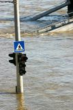Flood. Spring flood in Budapest with traffic jam stock images