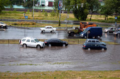 Flood. On the road, deluge Stock Photography