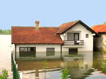 Flood. House in the water Stock Images