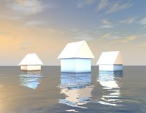 Flood abstract 3d concept with houses and water. Royalty Free Stock Photography