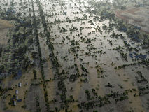 Flood, Aerial View. Flood in rural areas , Aerial View stock image