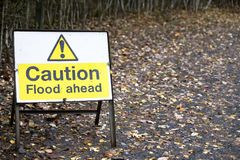 Flood ahead caution warning road sign water risk for drivers. Uk stock photo