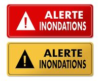 Flood Alert warning panels in French translation. In 2 colors Royalty Free Stock Images