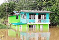 Flood. AYUTTHAYA, THAILAND, October 17 2016: Flood waters overtake house in Thailand royalty free stock photos