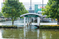 Flood in Bangkok, Thailand. Bangkok, Thailand - November 14: Home shopping Lotus. Nava Nakorn Industrial Park is in high flood, November 14, 2011 at Nava Nakorn Royalty Free Stock Photo