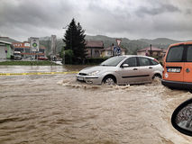 Flood in Bosnia. And Herzegovina, river Bosna in place near big city Zenica Stock Photography