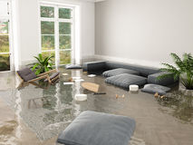 Flood in brand new apartment. 3d rendering. 3d rendering. flood in brand new apartment Stock Photos