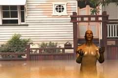 Flood  Brisbane Queensland render. Render illustration of flooded house concept mud man Stock Photography