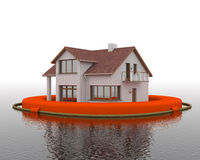 Flood - building in the lifebuoy vector illustration