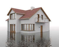 Flood - building in the water vector illustration