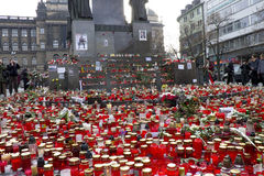 Flood of candles in front of the Wenceslas statute Stock Photos