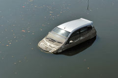 A Flood Car at in Parking Lot in Bangkok Royalty Free Stock Images