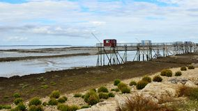 After the Flood, Carrelets on Ile Madame, Charente Maritime, France Royalty Free Stock Photography