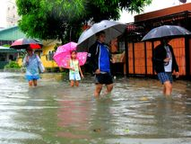 Flood caused by typhoon Mario (international name Fung Wong) in the Philippines on September 19, 2014 Royalty Free Stock Image