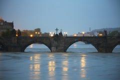 Flood. Charles Bridge - Flood in Prague, Czech Republic royalty free stock image