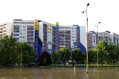 Flood in the city Royalty Free Stock Images