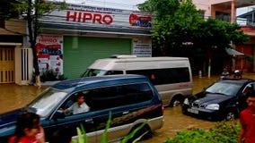 Flood in City Heavy Traffic Jam along Street in Vietnam stock video