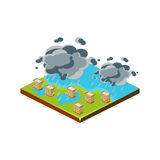 Flood in City. Natural Disaster Icon. Vector Illustration Stock Images