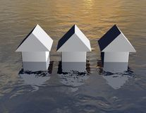 Flood concept with simple 3d houses under water. Stock Photography