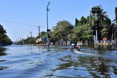 Flood condition on Oct 18, 2011. In Aayutthaya, Thailand. Thai Flood 2011 Royalty Free Stock Photos