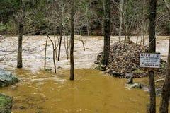 Flood Damage on the Maury River. Flood damages on the Maury River in Goshen Pass located in the Rockbridge County, Virginia, USA Royalty Free Stock Image
