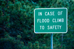 Flood danger sign Stock Photography