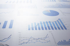 Flood of data. Many charts and graphs. Reflection light and flar Stock Images