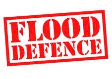 FLOOD DEFENCE. Red Rubber Stamp over a white background Stock Image