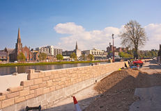 Flood defence wall on River Ness Royalty Free Stock Image