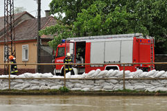 Flood defense. KAPOSVAR, HUNGARY - MAY 17: Flood defense at the Kapos river , May 17, 2010 in Kaposvar, Hungary stock image