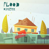 Flood Disaster Illustration. Color cartoon illustration flood disaster depicting underwater vehicle  and flooded house vector illustration Stock Photos