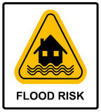 Flood Disaster Yellow Sign - House and waves on yellow sign isolated on white background. Vector banner with text. Yellow triangle warning symbol Royalty Free Stock Image