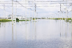 FLOOD and disasters in Amata Nakorn Industrial Estate Stock Photos