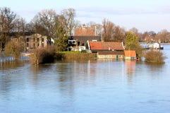 Flood of dutch river of IJssel in Deventer Stock Images